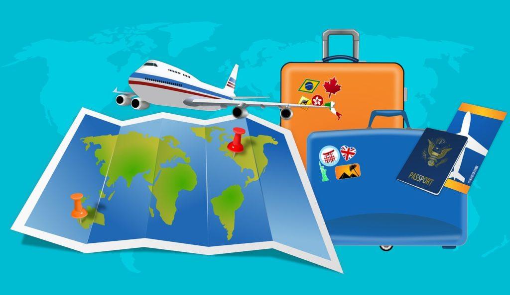 מפה מטוס ומזוודות